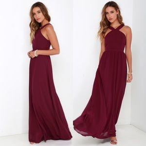 NWT Lulu's Air of Romance Burgundy Red Maxi Dress